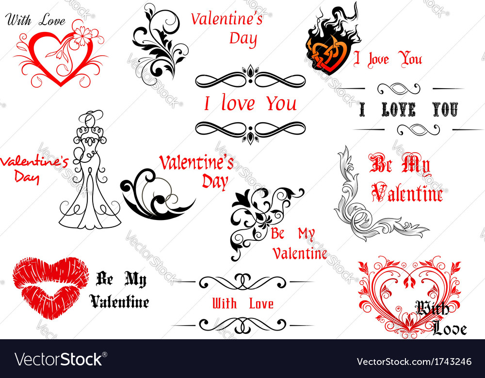 Valentines day design elements with calligraphic vector | Price: 1 Credit (USD $1)