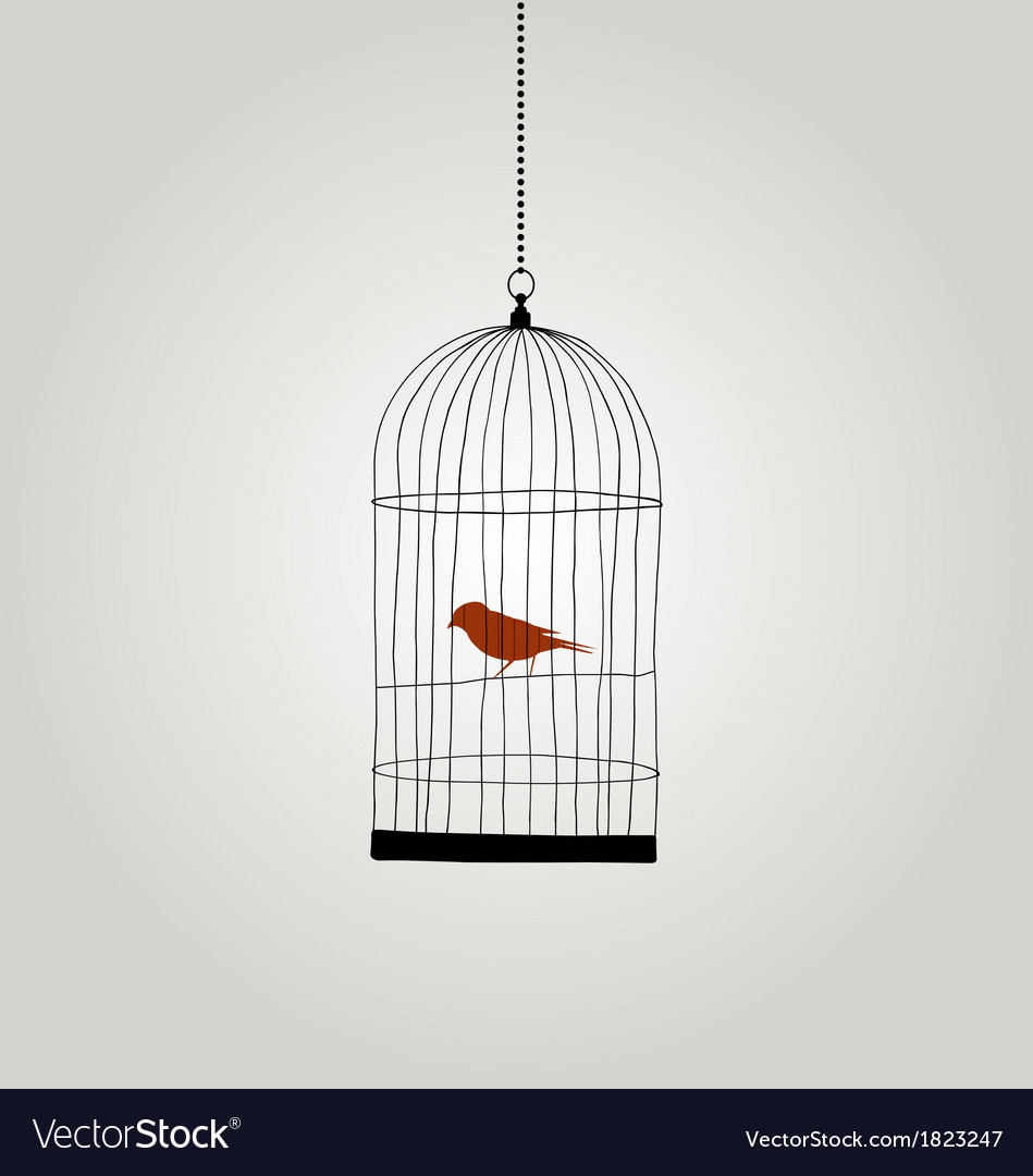 Bird in cage  freedom concept vector