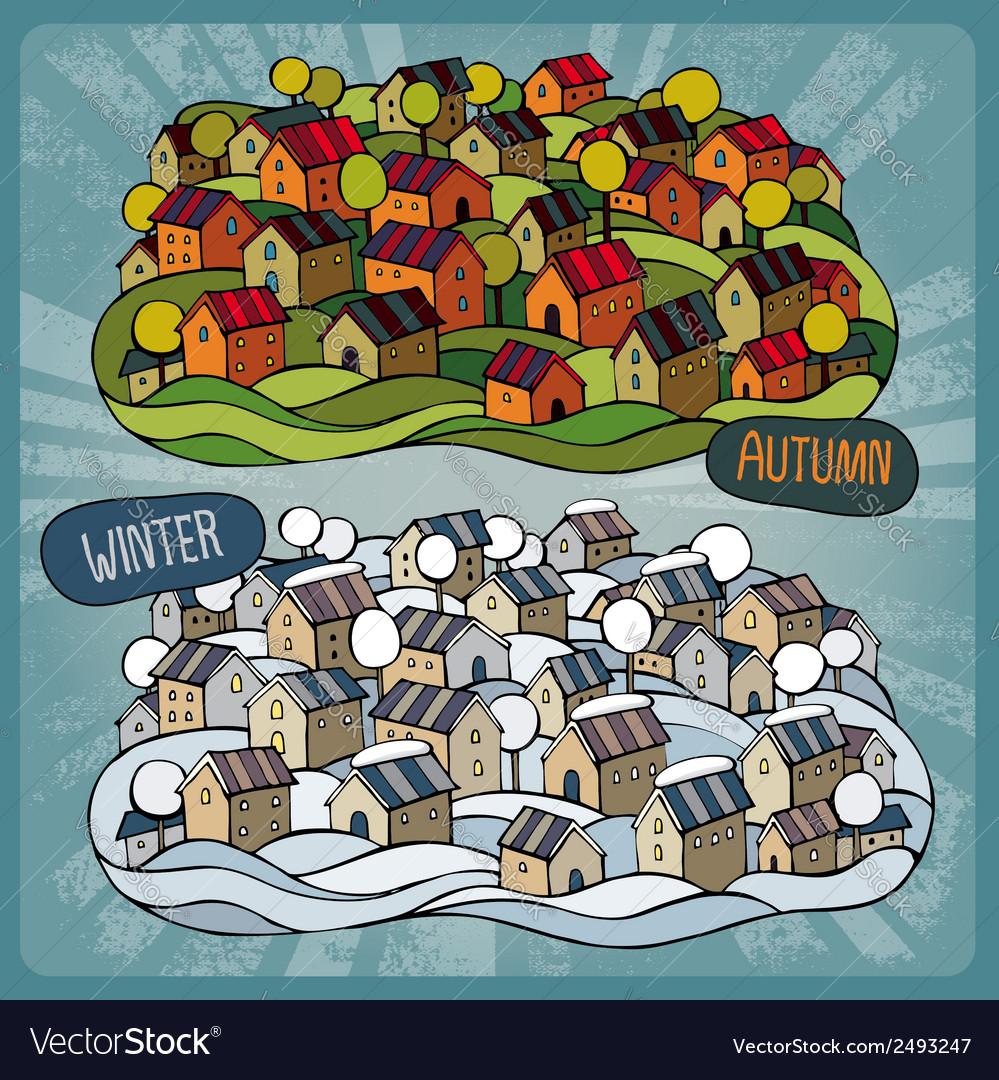 Cartoon fairy-tale village in two seasons vector | Price: 1 Credit (USD $1)