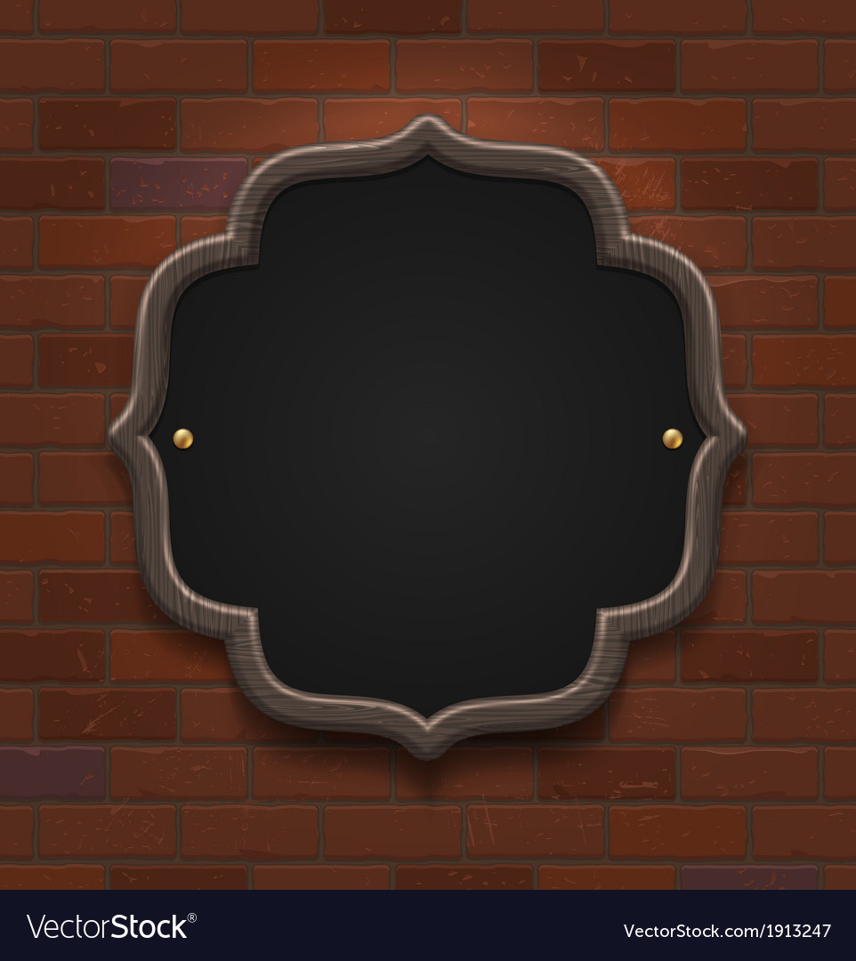 Chalkboard in wooden frame on vintage brick wall vector | Price: 1 Credit (USD $1)