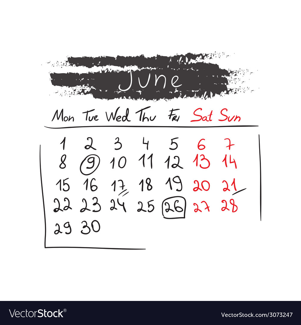Handdrawn calendar june 2015 vector | Price: 1 Credit (USD $1)