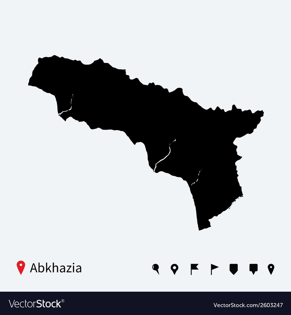 High detailed map of abkhazia with navigation pins vector | Price: 1 Credit (USD $1)