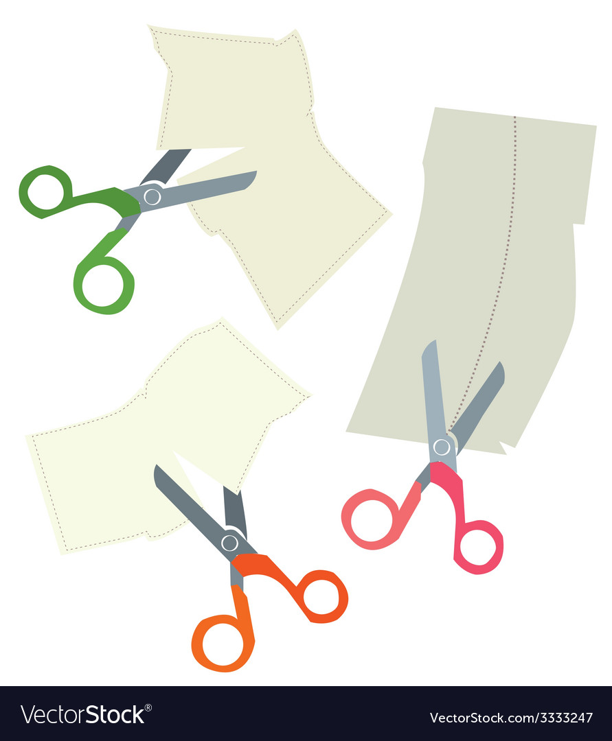 Scissors and paper coupons set - hand drawn vector | Price: 1 Credit (USD $1)