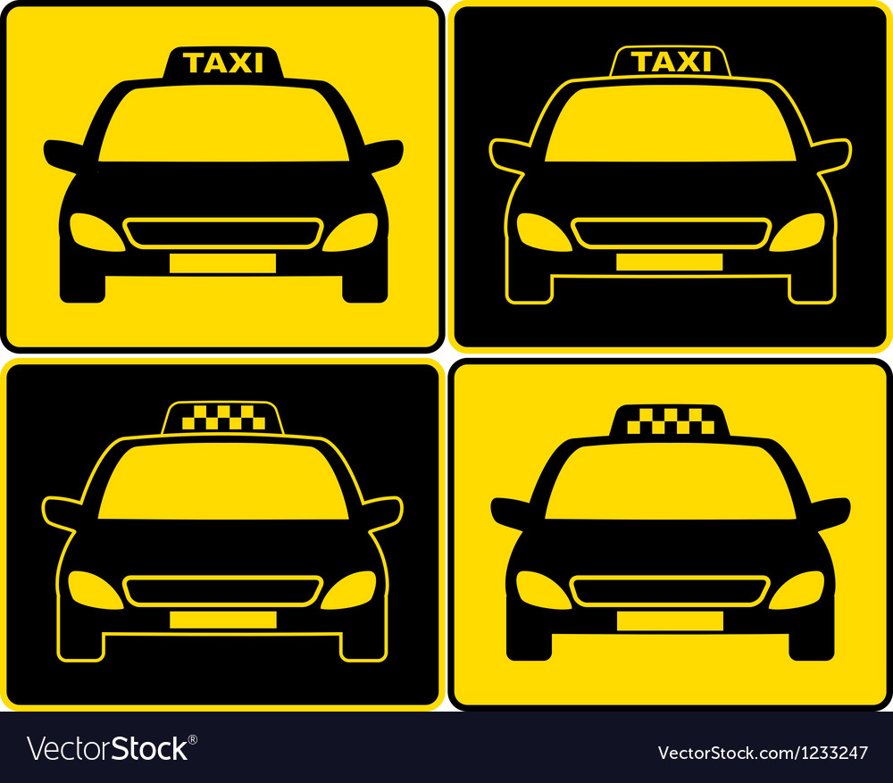Set of taxi cars sign vector | Price: 1 Credit (USD $1)