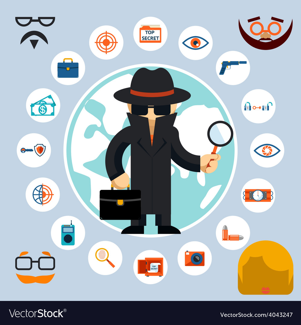 Spy with accessories icons vector | Price: 1 Credit (USD $1)