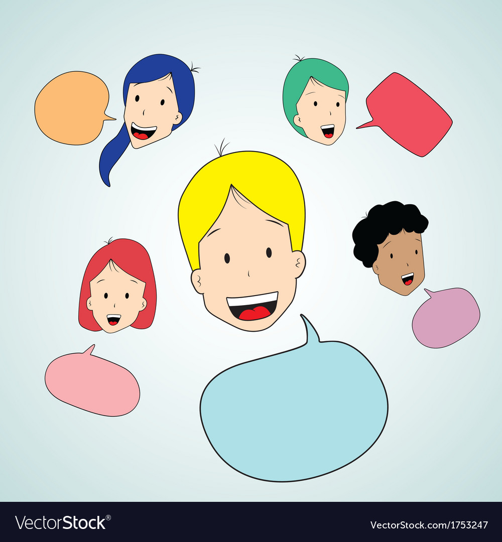 Teen talking with speak bubble vector | Price: 1 Credit (USD $1)