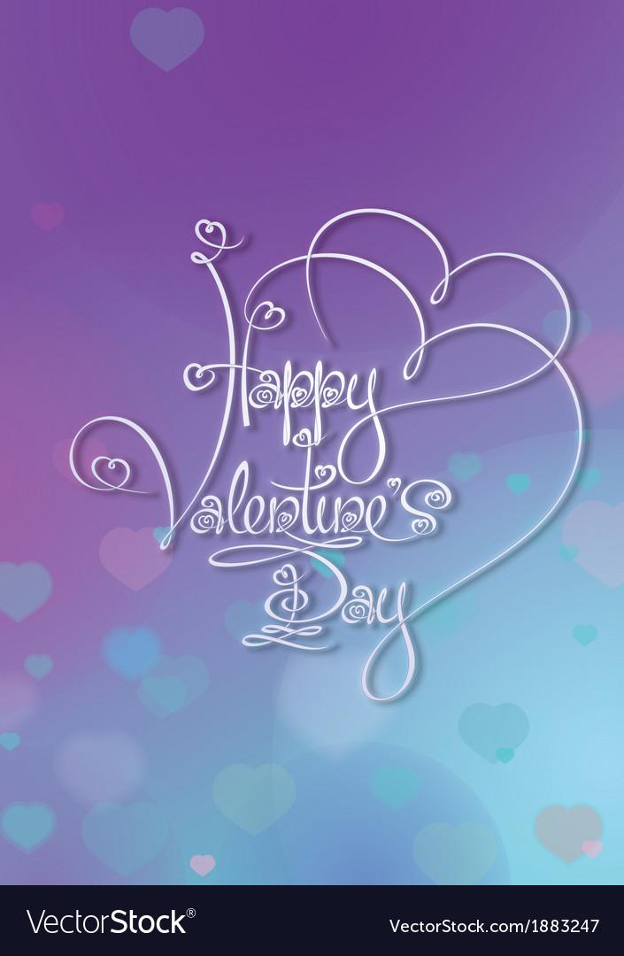 Valentines card happy valentines day purple blue vector | Price: 1 Credit (USD $1)