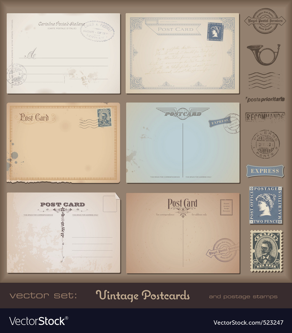 Vintage postcards vector