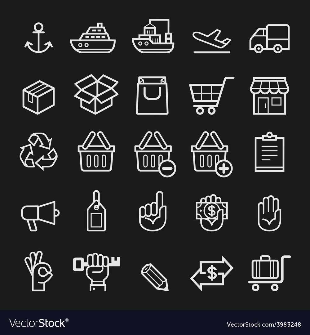 Business transportation element line icons vector | Price: 1 Credit (USD $1)