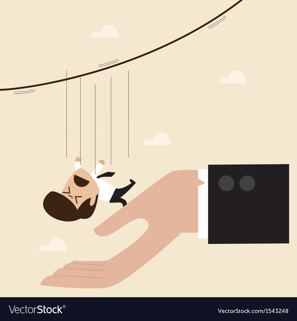 Businessman falling from rope to the big hand vector | Price: 1 Credit (USD $1)