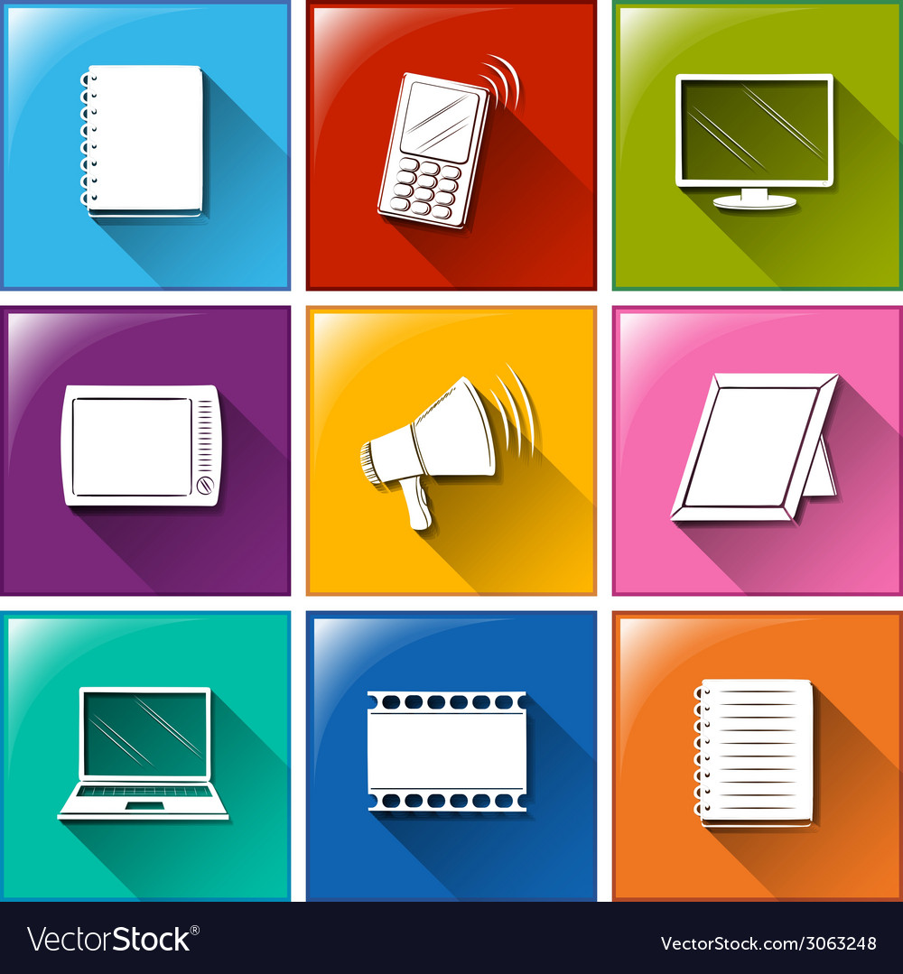 Different color of communication icons vector | Price: 1 Credit (USD $1)