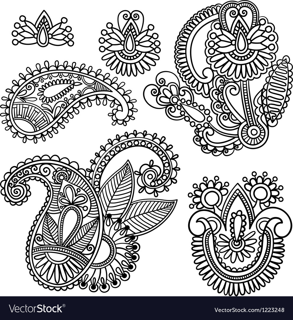 Flowers and paisley design element vector | Price: 1 Credit (USD $1)