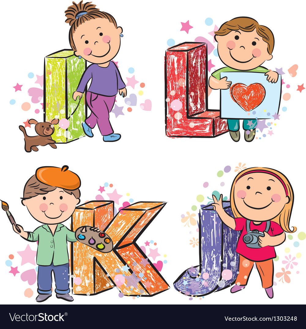 Funny alphabet with kids ijkl vector | Price: 1 Credit (USD $1)