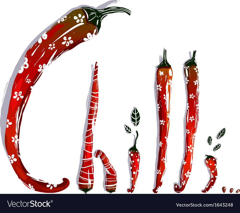 Funny red chilli pepper pods lettering vector | Price: 1 Credit (USD $1)