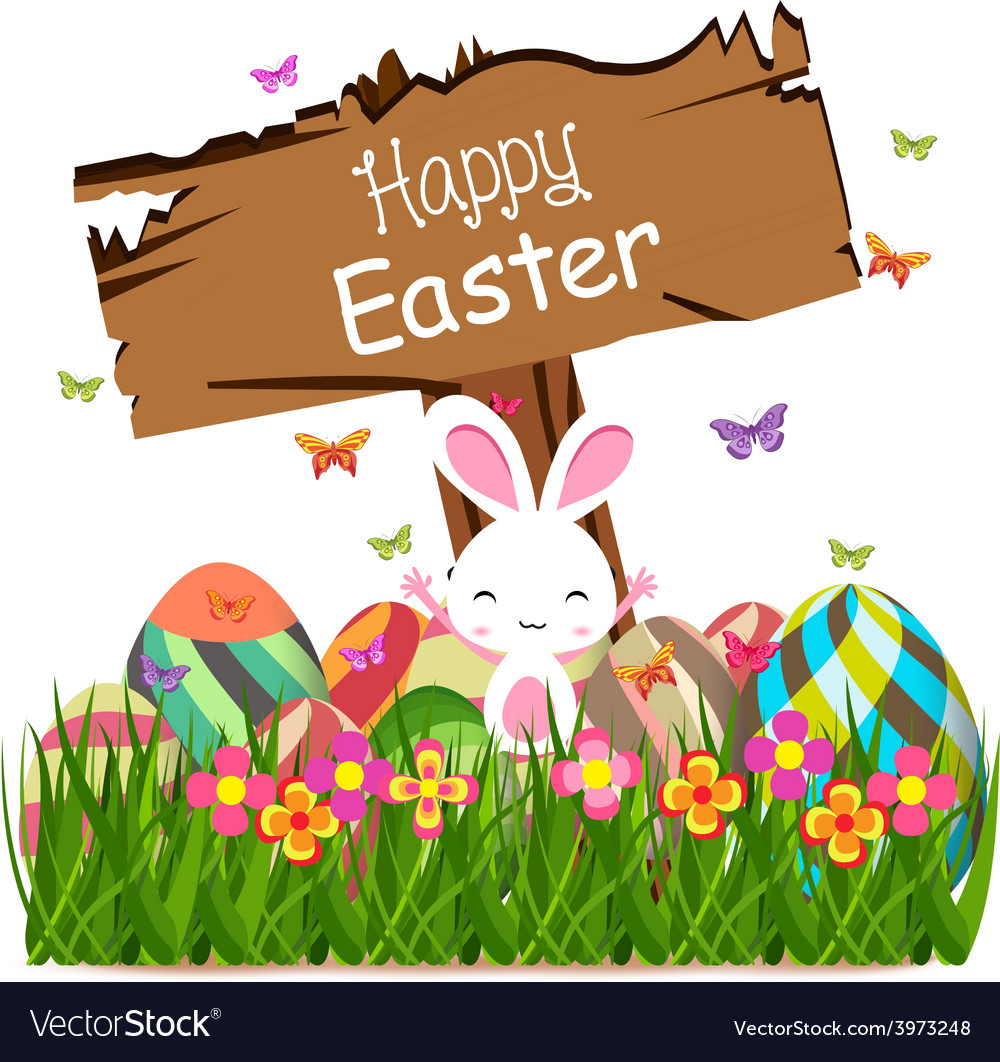 Happy easter spring concept with sign post vector | Price: 1 Credit (USD $1)