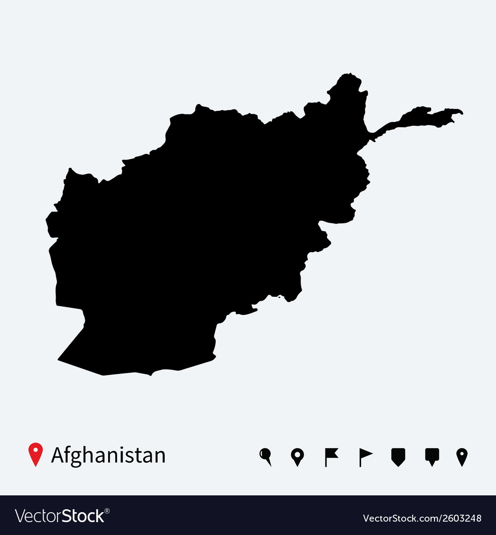 High detailed map of afghanistan with navigation vector | Price: 1 Credit (USD $1)