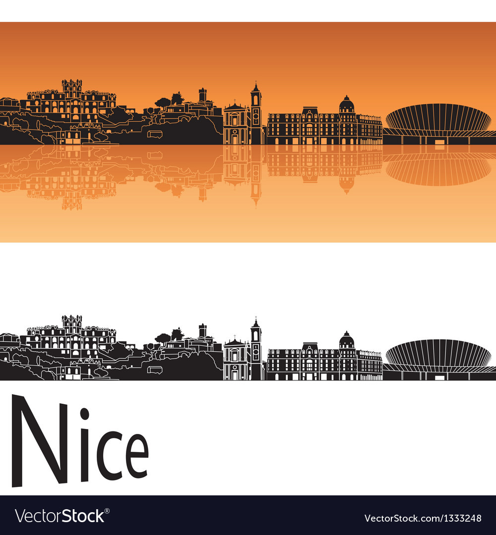 Nice skyline in orange background vector | Price: 1 Credit (USD $1)