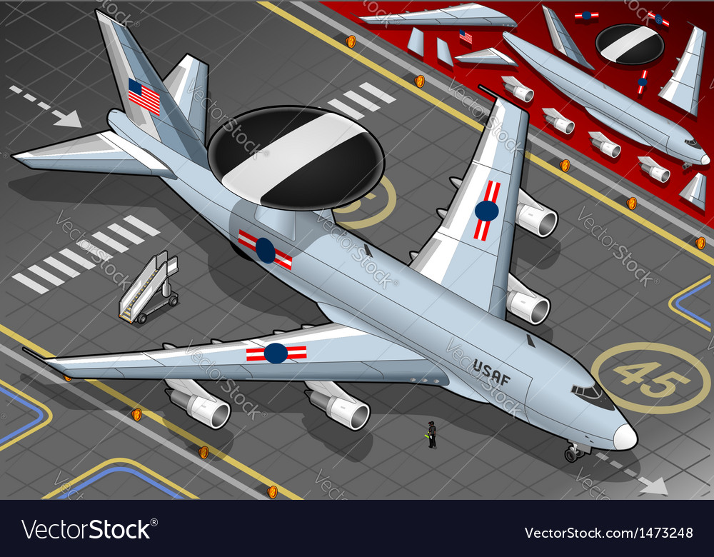 Radar plane landed in front view vector | Price: 1 Credit (USD $1)