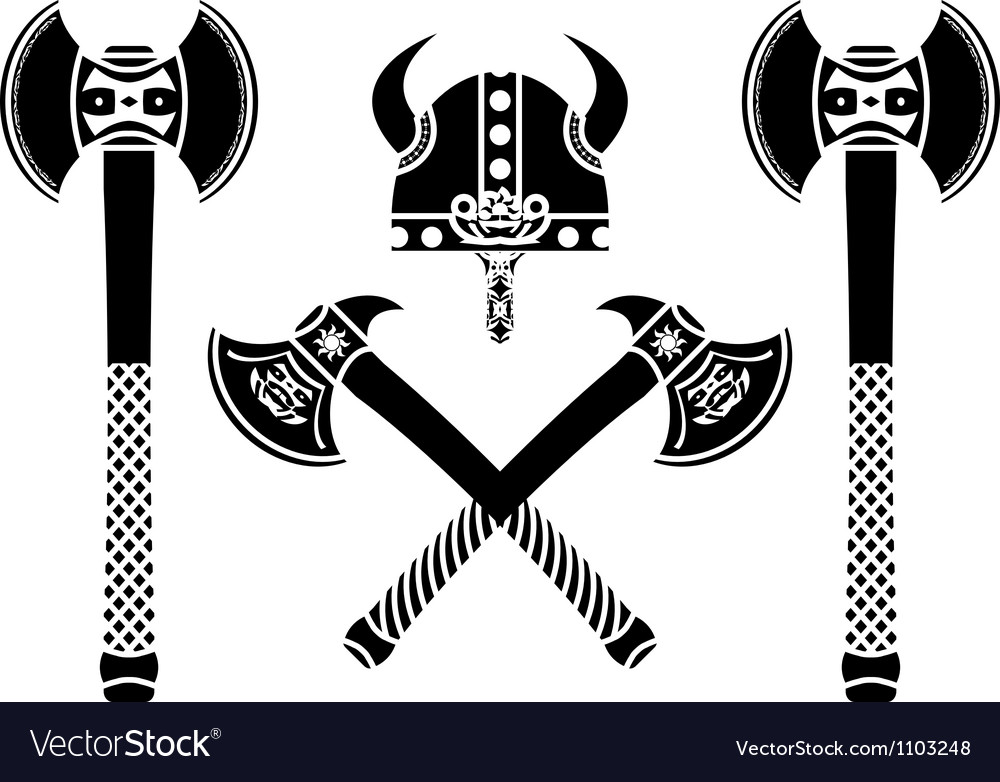 Set of fantasy axes vector | Price: 1 Credit (USD $1)