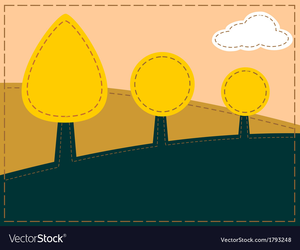 Stitched landscape with trees and cloud vector | Price: 1 Credit (USD $1)