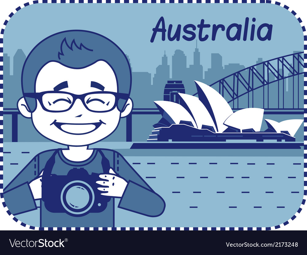 Teaser with photographer travels through australia vector | Price: 1 Credit (USD $1)