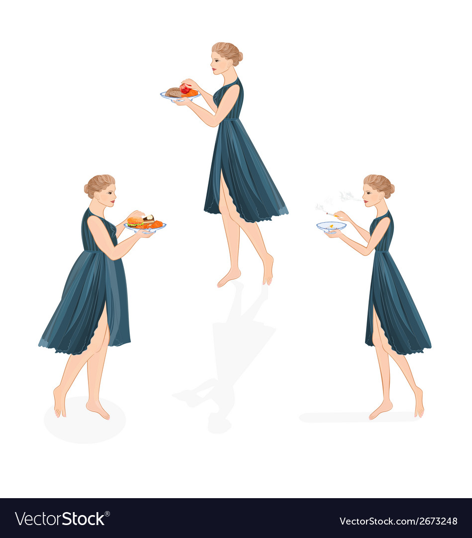 Three girls healthy and unhealthy life style vector | Price: 1 Credit (USD $1)
