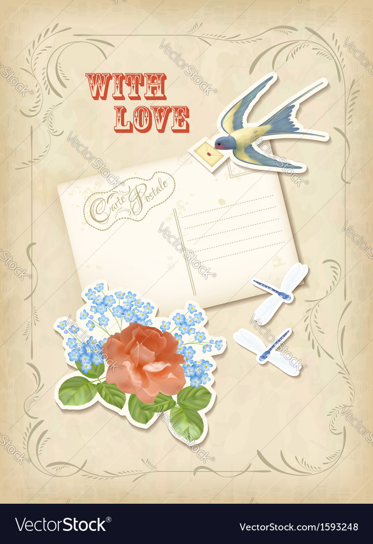 Vintage scrapbook elements retro card love design vector | Price: 1 Credit (USD $1)