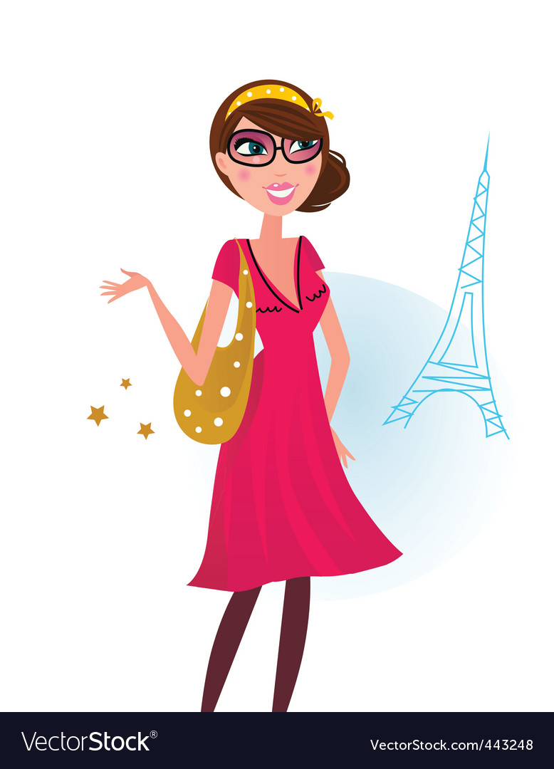 Woman shopping in paris vector | Price: 3 Credit (USD $3)