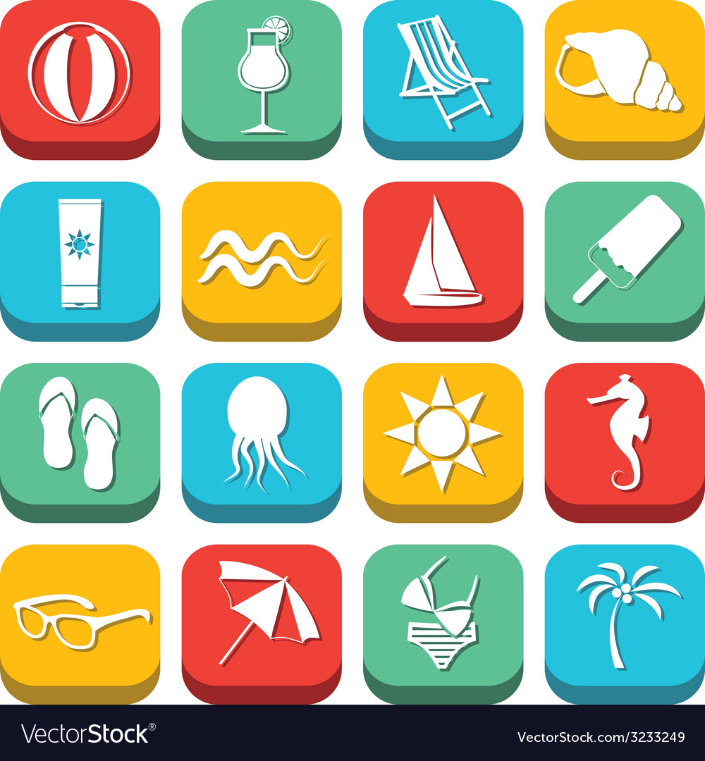 Beach icons vector | Price: 1 Credit (USD $1)