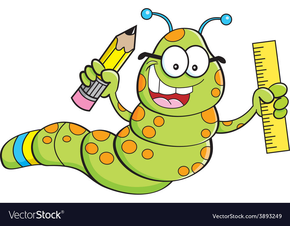 Cartoon inch worm holding a pencil and ruler vector | Price: 1 Credit (USD $1)