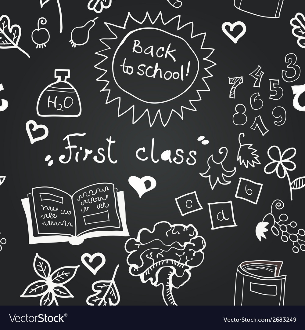Chalkboard school seamless pattern vector | Price: 1 Credit (USD $1)