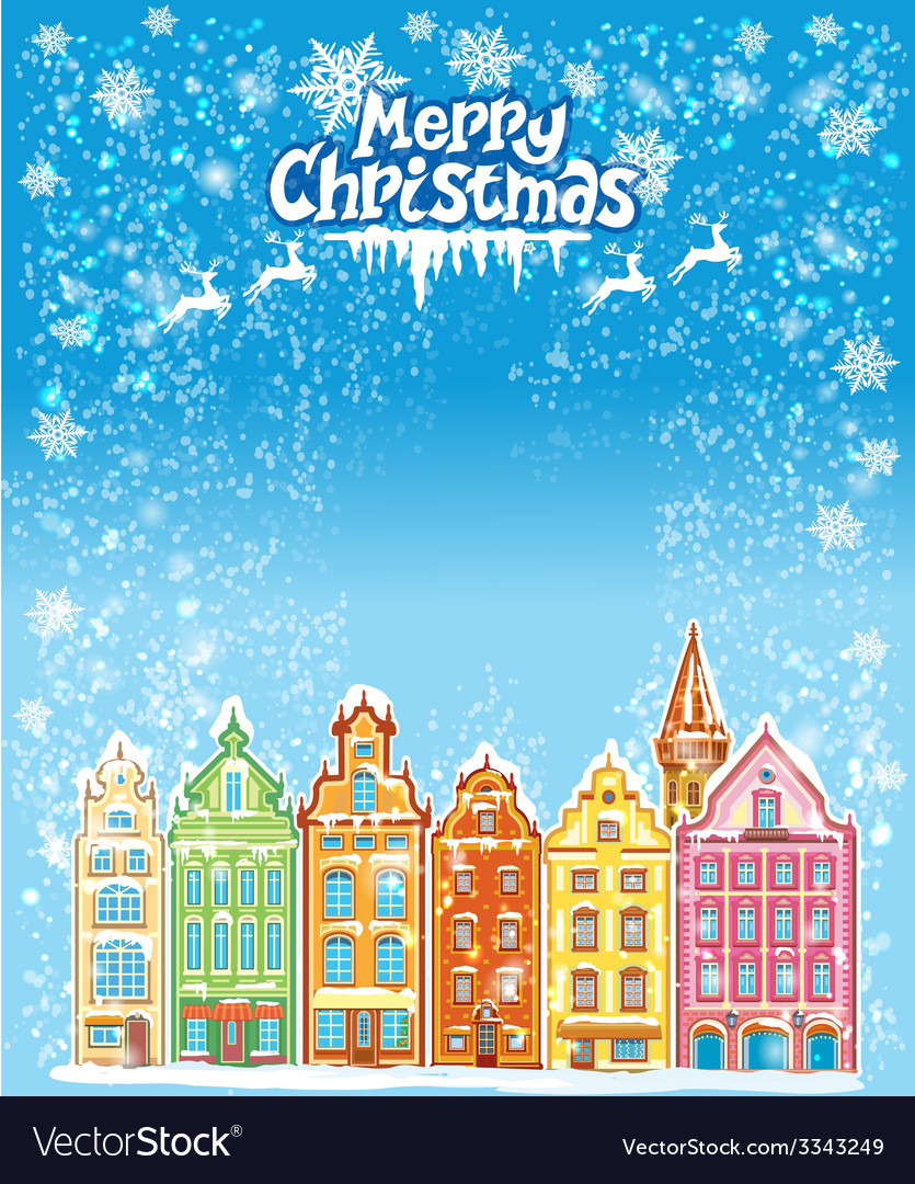 Christmas and new year holidays card with snowy vector | Price: 3 Credit (USD $3)