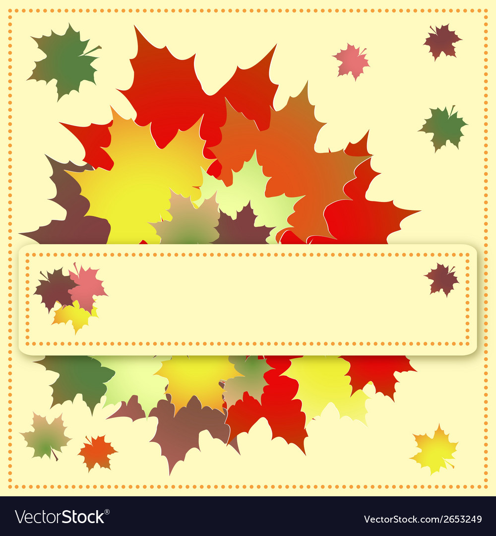 Colorful maple leaves on the greeting card vector | Price: 1 Credit (USD $1)