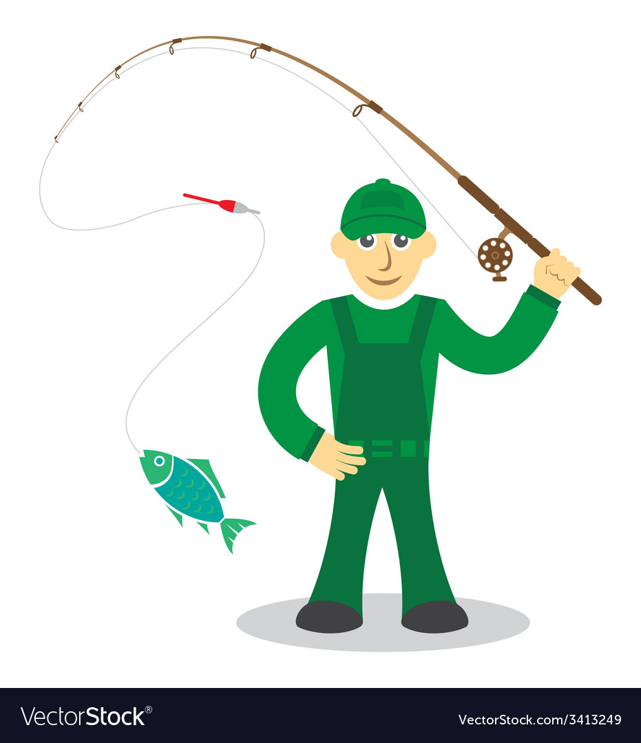 Fisherman on white background vector   Price: 1 Credit (USD $1)