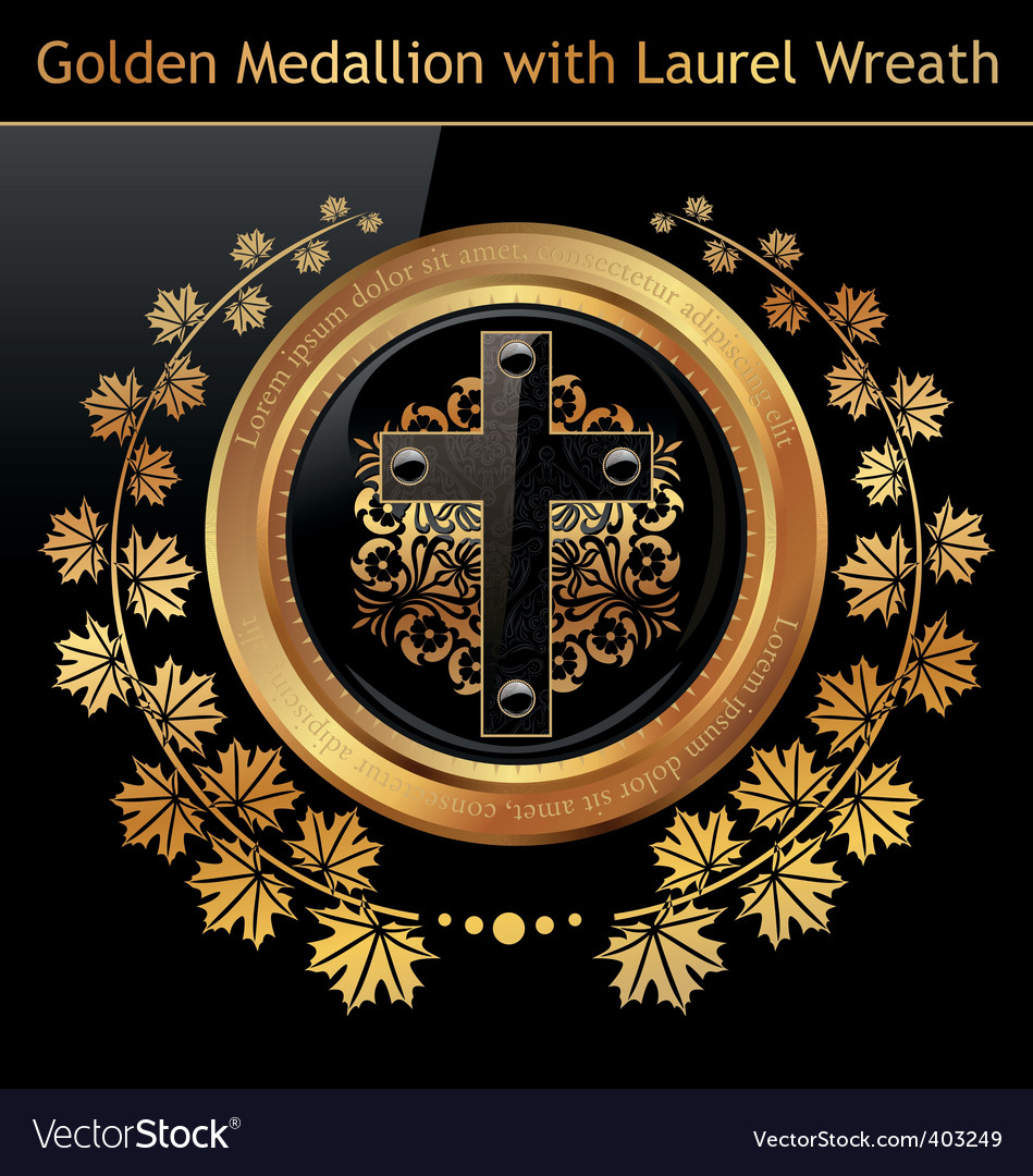 Gold medallion wreath vector | Price: 1 Credit (USD $1)