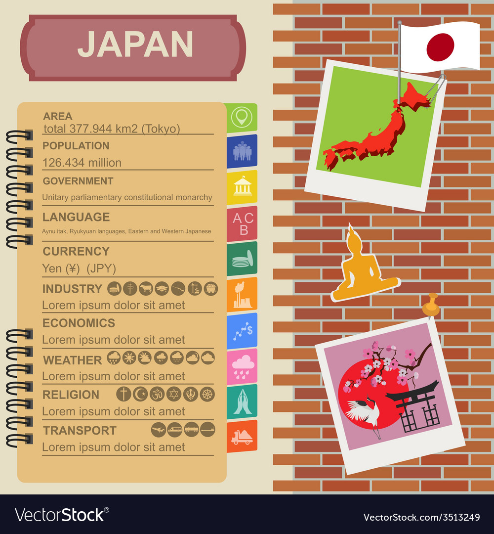 Japan infographics statistical data sights vector | Price: 1 Credit (USD $1)