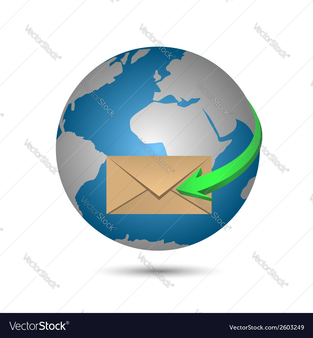 Message and globe vector | Price: 1 Credit (USD $1)