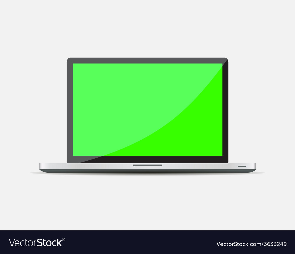 Realistic open laptop with green blank screen vector | Price: 1 Credit (USD $1)