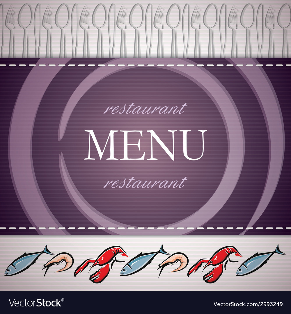 Restaurant menu design with seafood icons vector | Price: 1 Credit (USD $1)