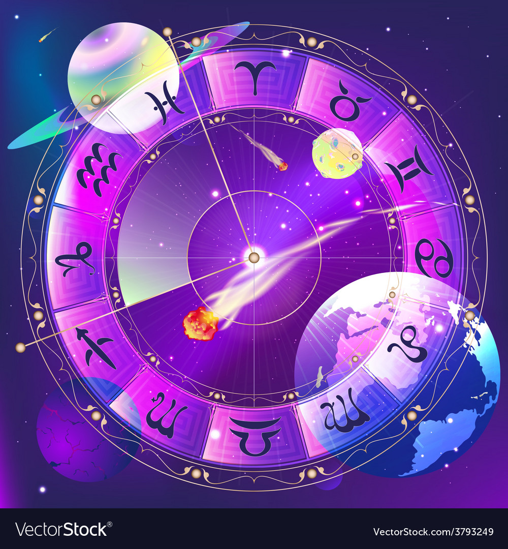 The signs of the zodiac zodiac circle in space vector | Price: 1 Credit (USD $1)
