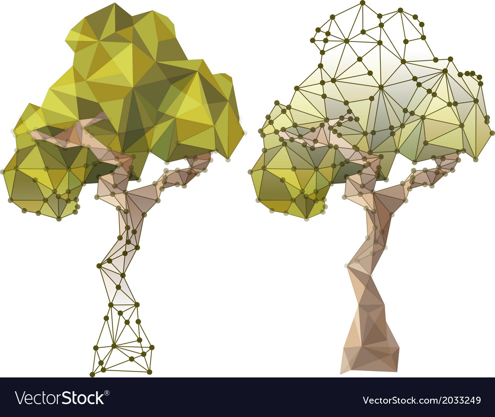 Tree in low poly style vector | Price: 1 Credit (USD $1)