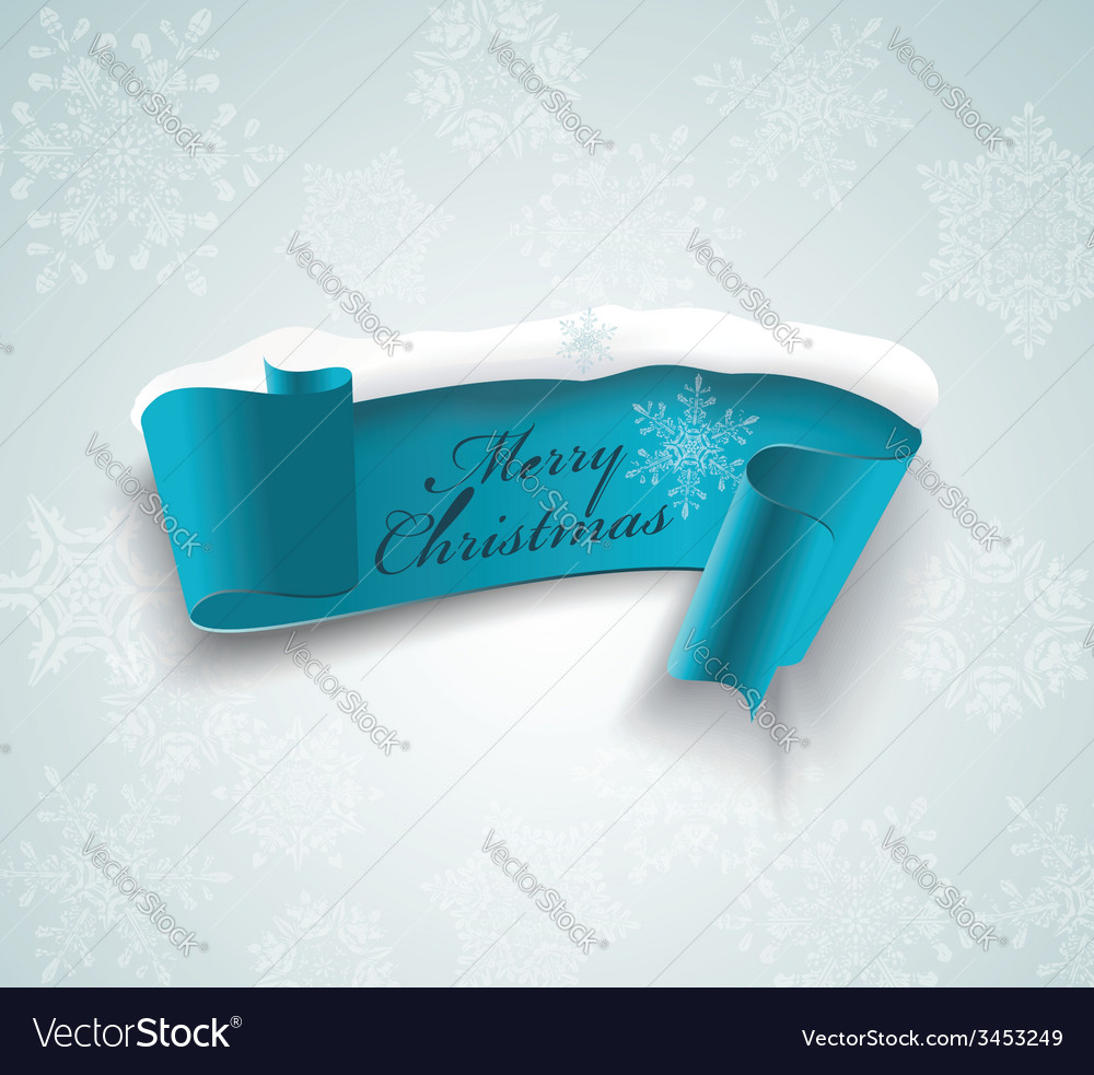 Winter banner blue realistic ribbon and snow vector | Price: 1 Credit (USD $1)