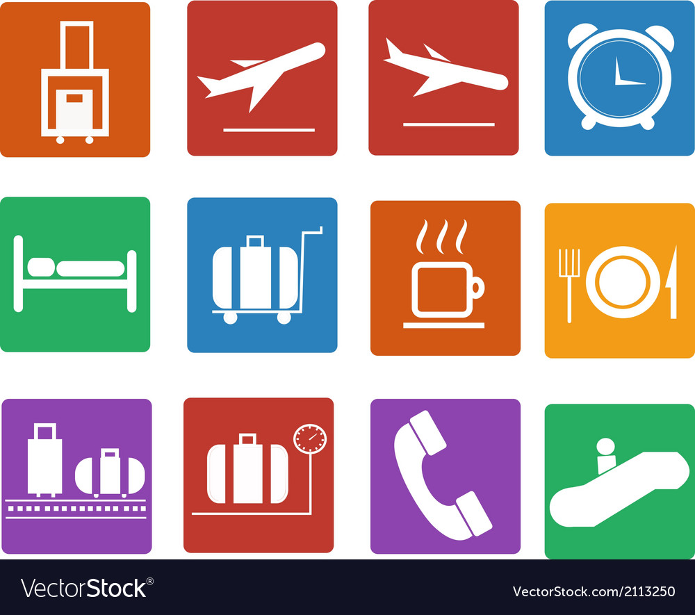 Airport icon flat icons set vector | Price: 1 Credit (USD $1)
