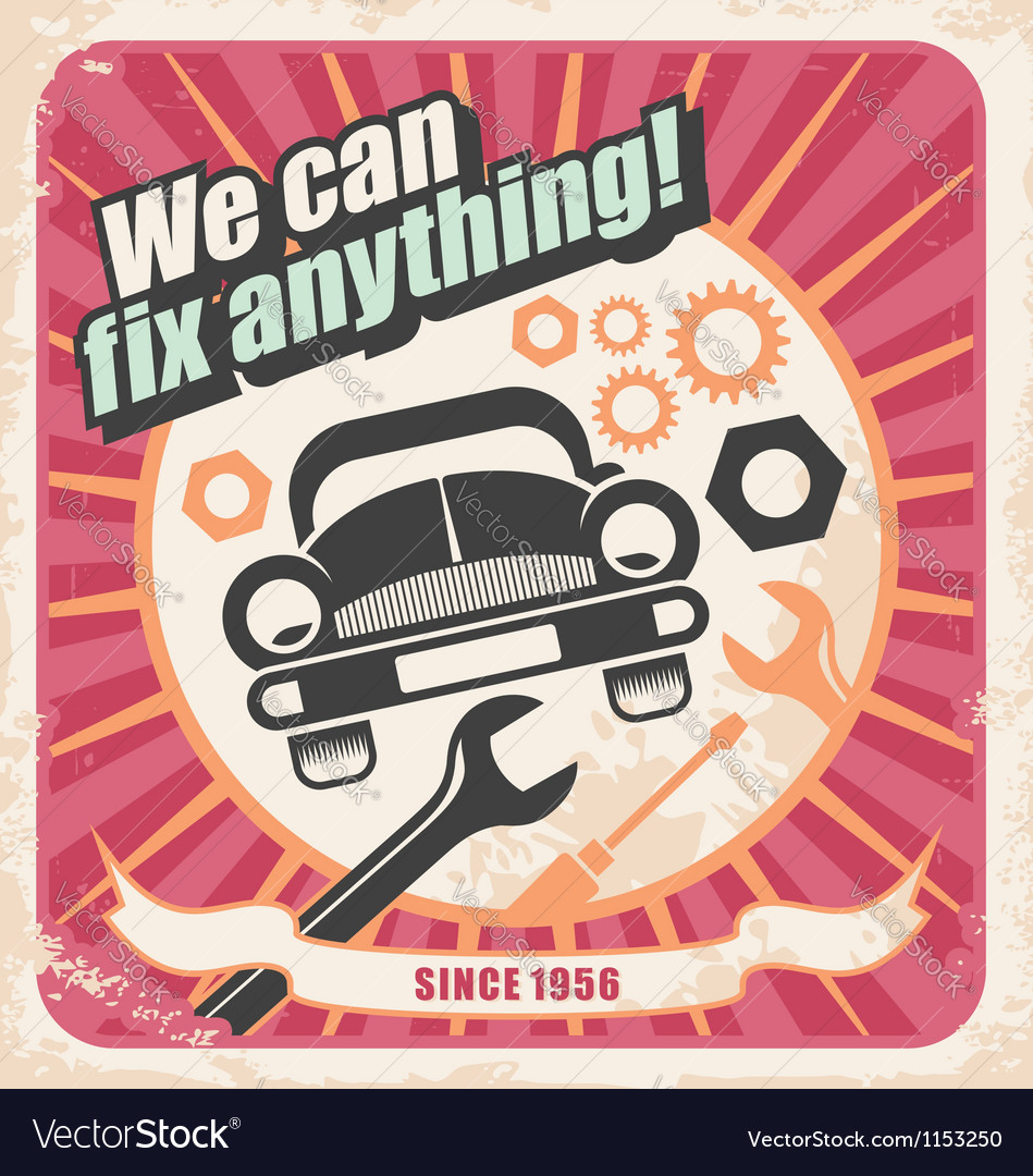 Auto service retro poster vector | Price: 1 Credit (USD $1)