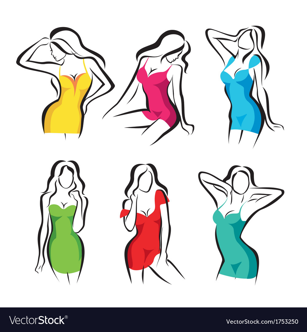 Beautiful women set of symbols in dress vector | Price: 1 Credit (USD $1)