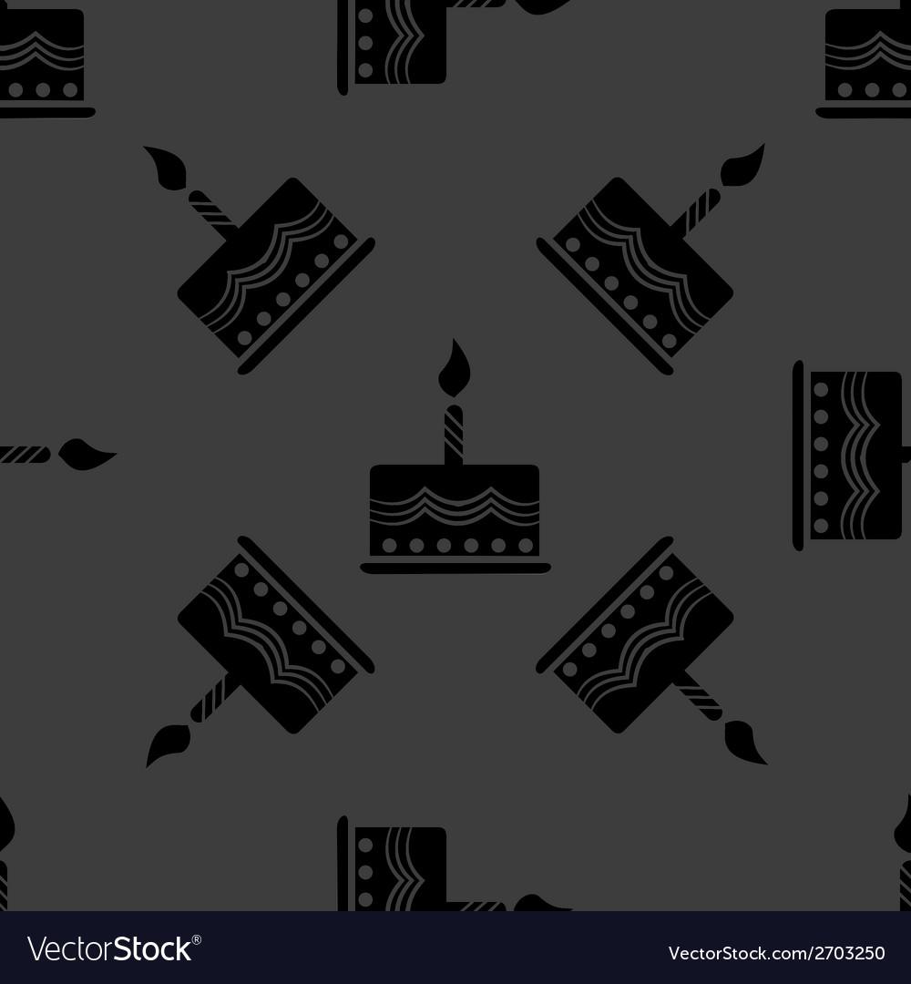 Cake web icon flat design seamless gray pattern vector   Price: 1 Credit (USD $1)
