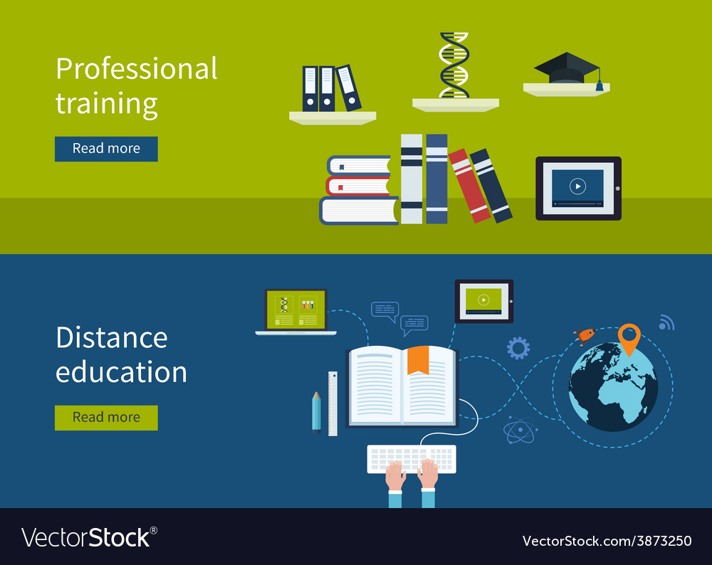 Distance education and e-learning vector | Price: 1 Credit (USD $1)