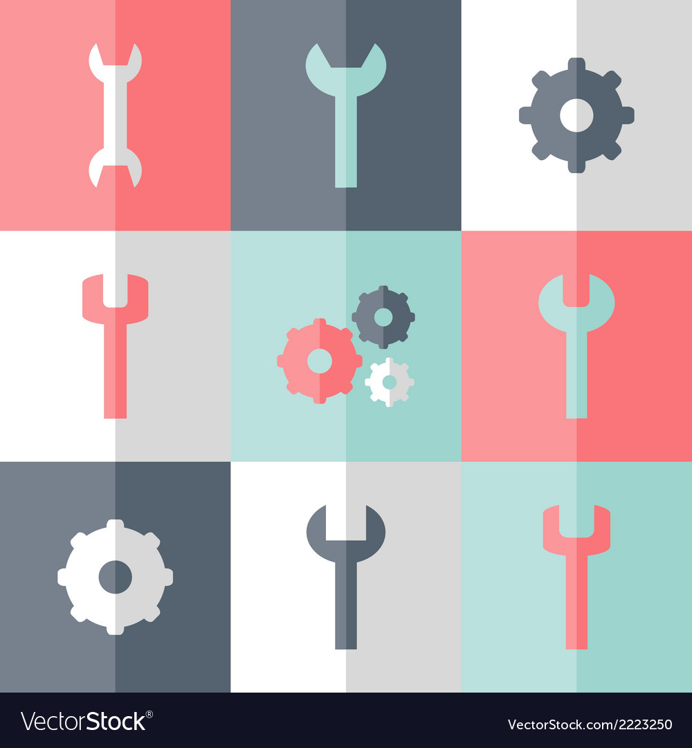 Flat gear and wrench icon set vector | Price: 1 Credit (USD $1)