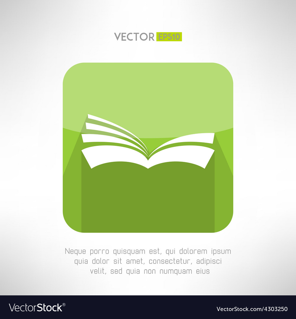 Green book icon notebook sign learning and ebook vector | Price: 1 Credit (USD $1)