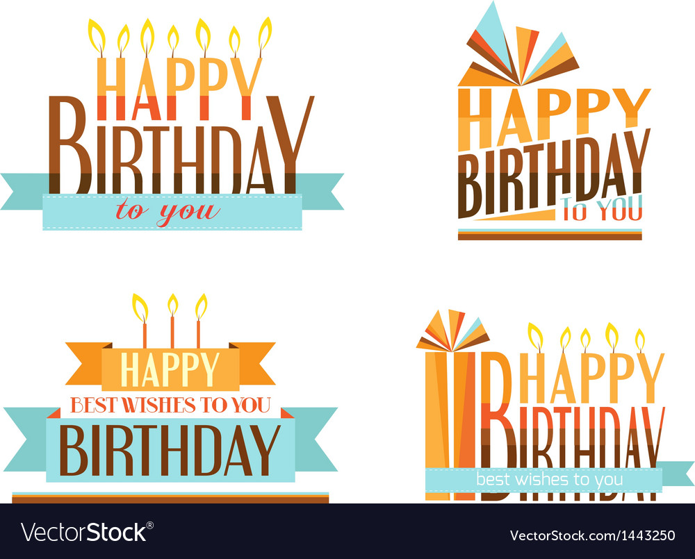 Happy birthday logos vector | Price: 1 Credit (USD $1)